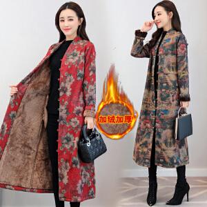 棉衣女长款2018冬装新品新款民族风印花加绒加厚复古毛呢外套