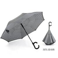 创意双层反向伞免持式汽车全自动雨伞长柄条纹男双人反骨伞女商务