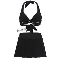 比基尼泳衣女三件套小胸聚拢性感韩国裙式分体遮肚显瘦泡温泉泳装