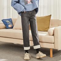 限时抢购价159唐狮2019秋冬新款牛仔裤女宽松直筒裤高腰显瘦黑色羊羔绒卷边加绒