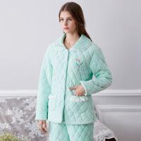 冬新款家居服套装女士夹棉夹层加厚保暖女式睡衣棉袄
