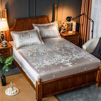 冰丝凉席三件套1.8/1.5m床笠可水洗欧式床单可折叠空调席子