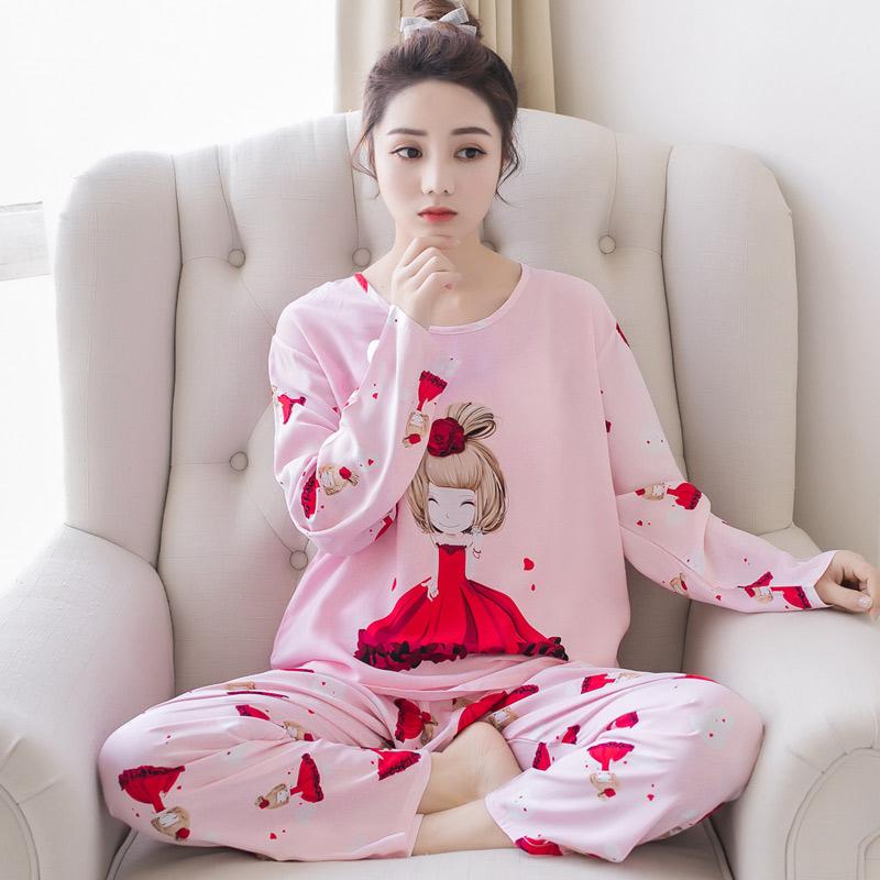 夏季女士薄款棉绸睡衣女学生套装人造棉宽松家居服两件套