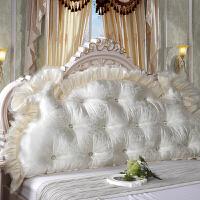 韩式田园公主床头大靠背软床头大靠垫床上双人长靠枕含芯床头软包 乳白色 曼莎米白