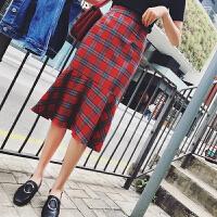 秋冬新款中长款不规则鱼尾裙韩版高腰百搭包臀红色格子半身裙 红色 四季可穿