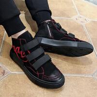 欧洲站嘻哈刺绣高帮鞋男磨砂皮冬季街头个性板鞋魔术贴欧美男鞋潮 黑色