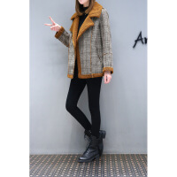 新款女装冬装宽松大码棉衣外套短款女加厚机车大衣格子棉袄短 2X