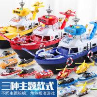 可收纳轮船可变形船舰玩具车停车场合金小汽车男孩子男童小孩礼物