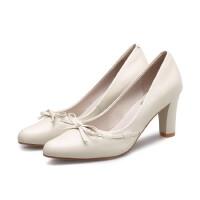 年秋季韩版真皮高跟鞋蝴蝶结牛筋底尖头单鞋一件
