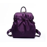 尼龙双肩包女包韩版潮简约百搭防水牛津帆布休闲旅行背包新款d 紫色
