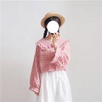 格子衬衫女韩版bf原宿风小清新春季打底衫学生宽松长袖衬衣polo衫