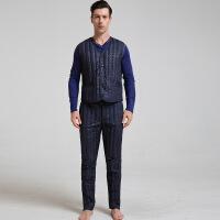 新款男士无缝羽绒马甲套装男士羽绒保暖羽绒背心羽绒裤两件套 藏蓝色