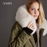 Amii[极简主义]轻奢 皮毛一体皮草女 2017宽松狐狸毛领兔毛皮大衣