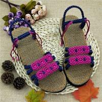 居家夏季女手工复古凉鞋钩针DIY编织材料包传统坡跟凉拖鞋 玫瑰相约凉鞋111# 亚麻底
