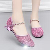 儿童拉丁舞鞋女童练功鞋舞蹈鞋水晶女孩跳舞鞋少儿恰恰软底防滑秋冬
