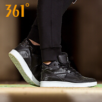 361度女鞋运动板鞋高帮篮球皮面中帮小白鞋