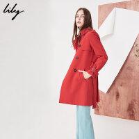 【2件4折价:215.6元】 Lily春季新款风衣女装系带双排扣风衣中长款收腰风衣118120C1201