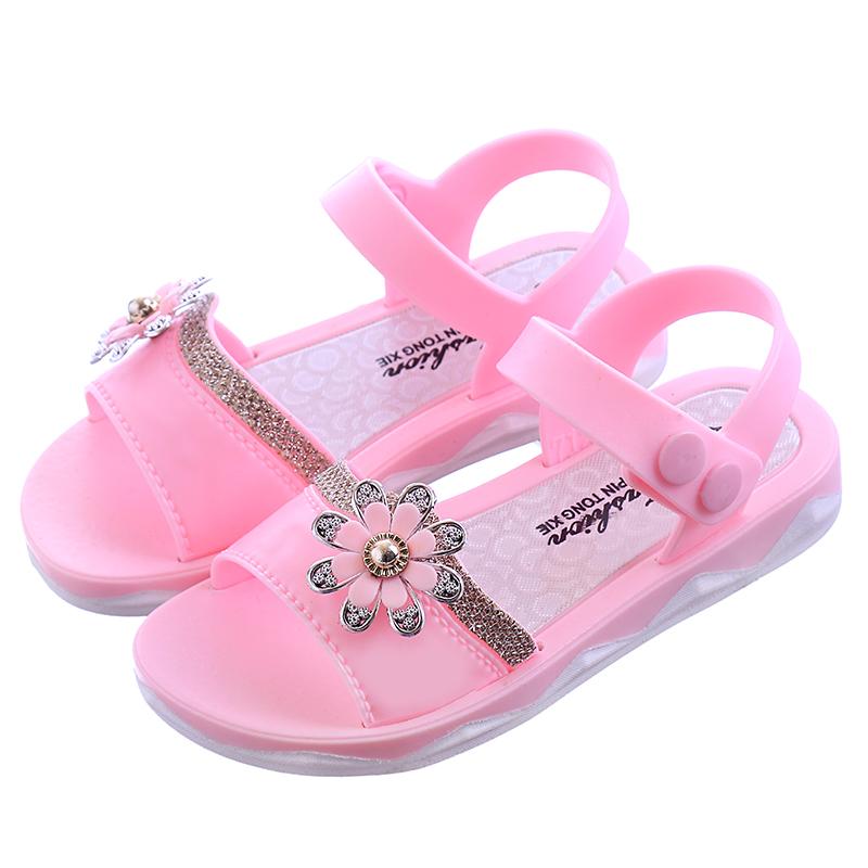 女童凉鞋夏新款小孩沙滩鞋魔术贴宝宝软底鞋学生小凉鞋