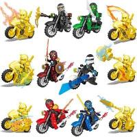 新品黄金幻影忍者人仔人偶拼装摩托战车忍者神龟儿童积木玩具5-12 浅黄色 12款摩托车