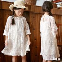 韩国童装2018夏装新款韩版女童森系蕾丝公主裙中大儿童甜美连衣裙