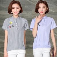 棉麻刺绣花条纹短袖衬衫女装夏季新款大码显瘦文艺贴布衬衣上衣潮