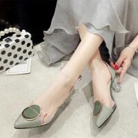 仙女的鞋户外复古尖头透明粗跟床上法式少女高跟鞋凉鞋女