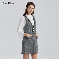 Five Plus2019新款女春装无袖连衣裙女格子短裙仿珍珠V领背心裙子