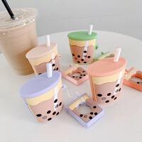 珍珠奶茶airpods 1 2保护套适用苹果蓝牙无线硅胶耳机套潮软 airpods 1 2
