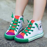 �和�帆布鞋高�桶逍�男童女童休�e鞋小白鞋