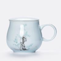 唐丰创意带盖过滤茶杯陶瓷杯子个人泡茶杯主人杯简约茶水分离水杯