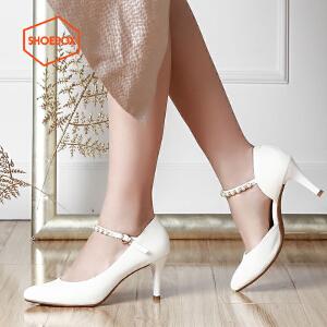 SHOEBOX/鞋柜尖头高跟鞋 浅口一字扣甜美酒杯跟女单鞋