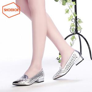 达芙妮旗下SHOEBOX/鞋柜 金属色镂空尖头方跟女鞋通勤OL低粗跟单鞋