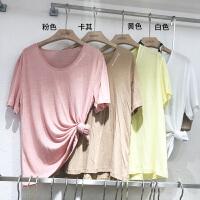 韩国ulzzang2018春装新款简约字母印花V领短袖T恤时尚糖果色上衣