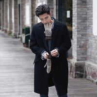 冬装呢大衣男士风衣外套2017潮流宽松青少年男大衣英伦时尚呢大衣 黑色
