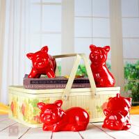 陶瓷动物黑猪摆件风水家居饰品客厅装饰品摆件工艺品摆设创意