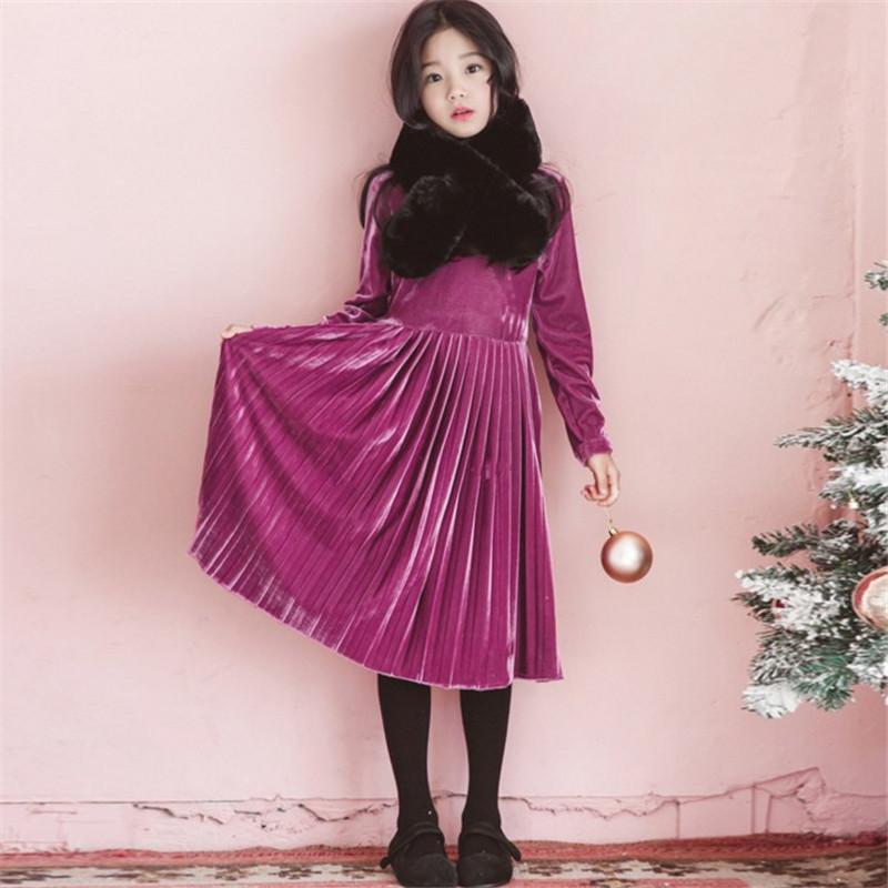 韩版童装圣诞冬款新款中大童高领连衣裙女童丝绒百褶长裙子 发货周期:一般在付款后2-90天左右发货,具体发货时间请以与客服协商的时间为准