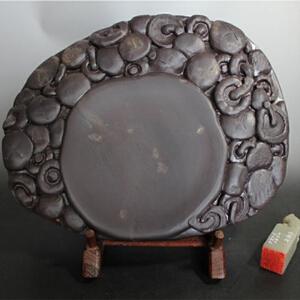 坑仔岩【香菇笙歌】砚 罕见蕉叶白 石品丰富  精雕细刻