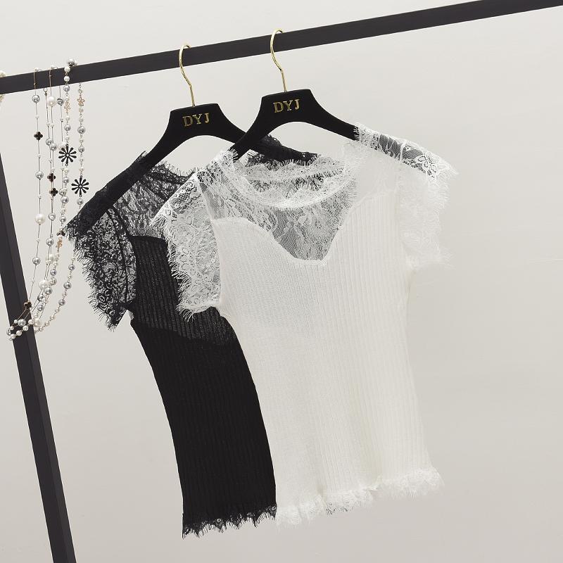 2018夏装新款 韩版简约百搭拼接蕾丝黑色背心女显瘦打底上衣