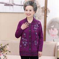中老年秋装女长袖针织开衫老人装60-70岁翻领外套妈妈奶奶装上衣