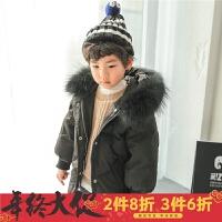 童装儿童羽绒服男童真毛领外套2017冬季新款韩版加厚黑色宝宝冬装