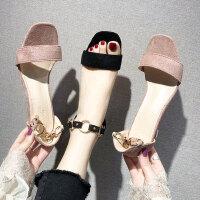 时尚一字扣罗马鞋女 新款中跟百搭气质凉鞋女 韩版细跟高跟凉鞋女