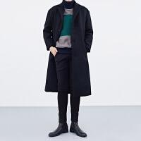 立领毛呢大衣男中长款韩版青年修身英伦风风衣加厚秋冬季呢子外套