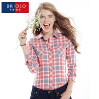 BRIOSO 春装新款 2017女式长袖衬衫 时尚百搭磨毛格子衬衫  翻领韩版修身长袖格子衬衣 WEMM011