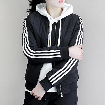 Adidas阿迪达斯 neo 女子 夹棉外套 立领运动夹克 BP6473