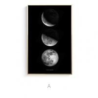 星球黑白ins风宝丽来摄影北欧现代空间客餐厅工作室装饰画