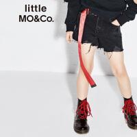 【折后价:147.6】littlemoco春季新品儿童牛仔裤磨损洗烂自然剪边松紧腰牛仔短裤
