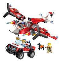儿童积木玩具 消防车拼插积木玩具消防飞机模型男孩儿童礼盒装生日礼物