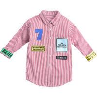 儿童春季衬衫2018新款韩版条纹休闲衬衣洋气上衣潮女