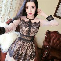 春装新款精致蕾丝花边修身显瘦复古约个性连衣裙女装