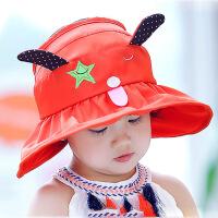 缕巷 新款男女宝宝遮阳帽春夏2岁9女童凉帽盆帽大帽檐防晒遮阳帽太阳空顶帽